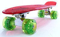 """Пластборд (Пенни борд) 22,5"""" TRANSPARENT (красная прозрачная дека / зеленые прозрачные колеса), фото 1"""
