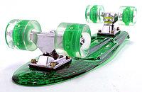 """Пластборд (Пенни борд) 22,5"""" TRANSPARENT (зеленая прозрачная дека / прозрачные колеса со светодиодами), фото 1"""