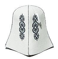 Казахский колпак войлочный, белый, 27 см