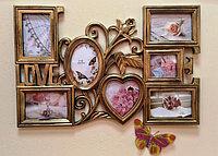 """Фоторамка коллаж """"LOVE"""" с розой для 7 фото, фото 1"""