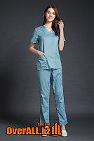 Серо-голубой женский медицинский костюм, фото 1