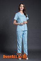 Светло-голубой женский медицинский костюм, фото 1