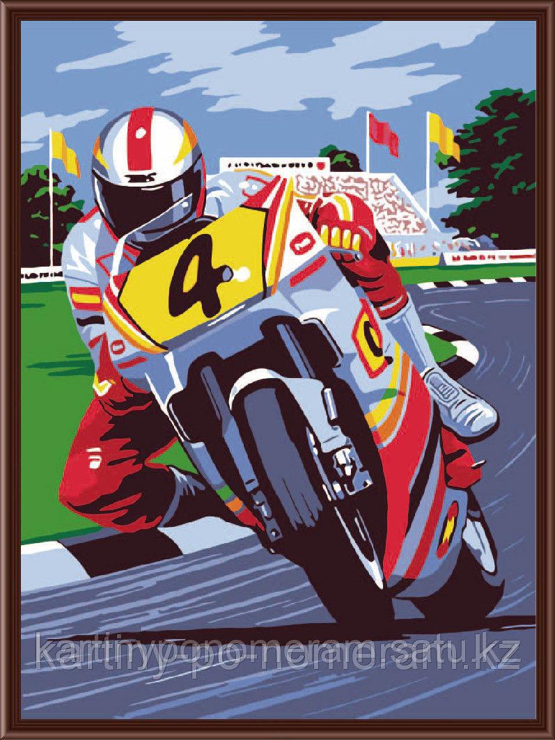 """Картины по номерам  - Алматы,  """"Мотоциклист"""""""