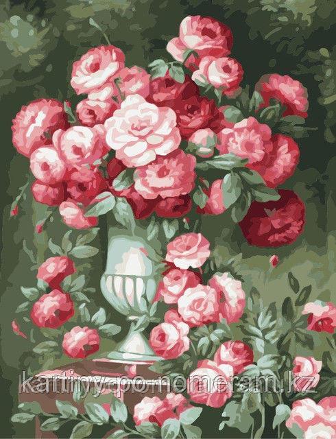 """Картины по номерам  - Алматы, """"Розы в античном стиле"""""""