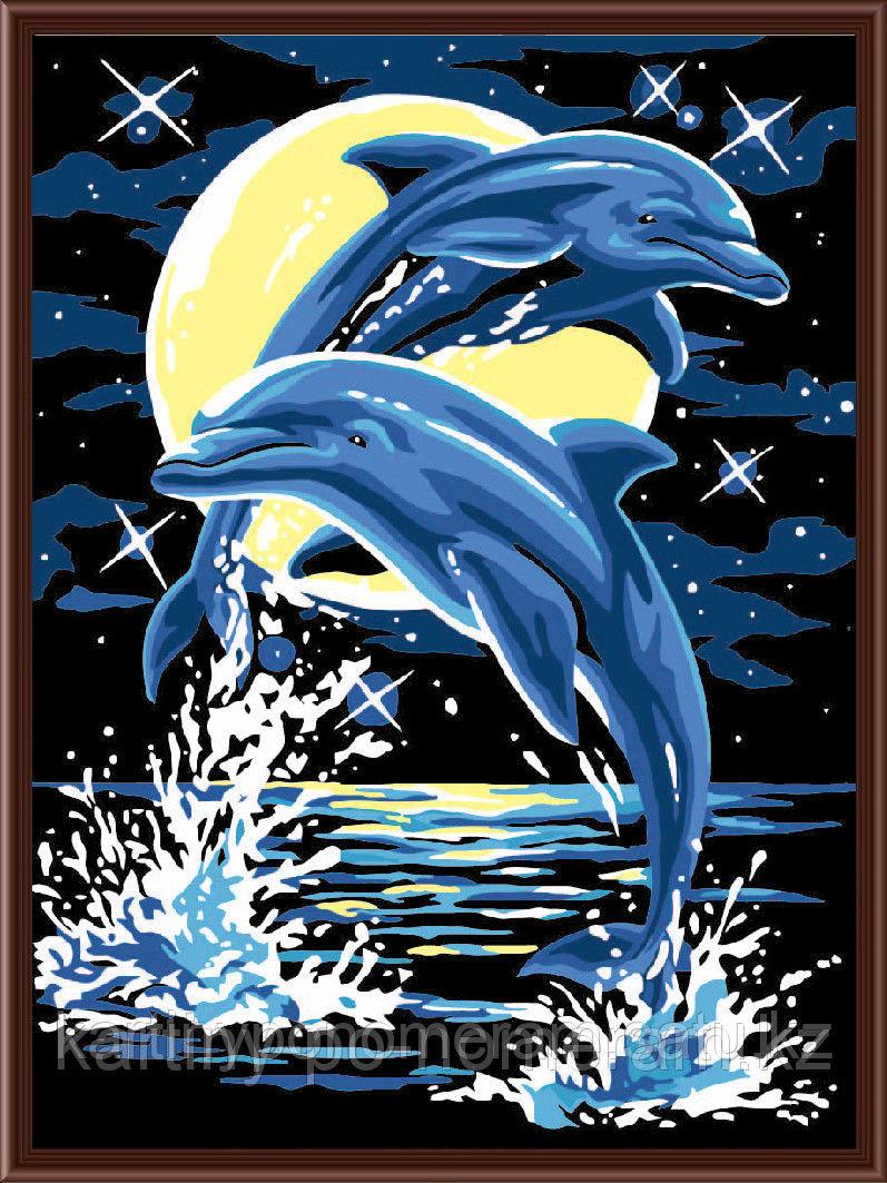 """Картины по номерам  - Алматы,  """"Дельфины под луной"""""""