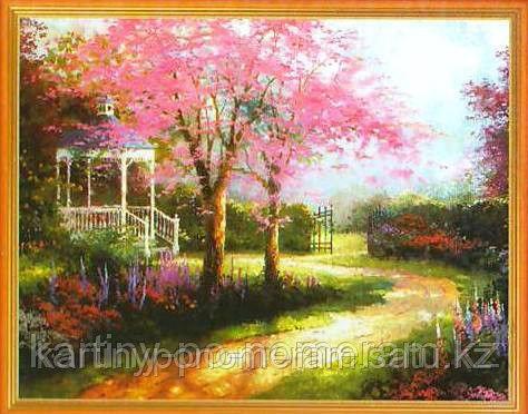 """Картины по номерам  - Алматы, """"Беседка у цветущего дерева"""""""
