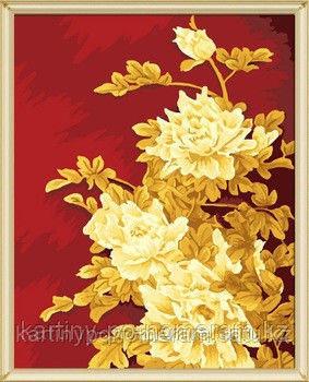 """Картины по номерам  - Алматы, """"Золотые цветы на красном"""""""
