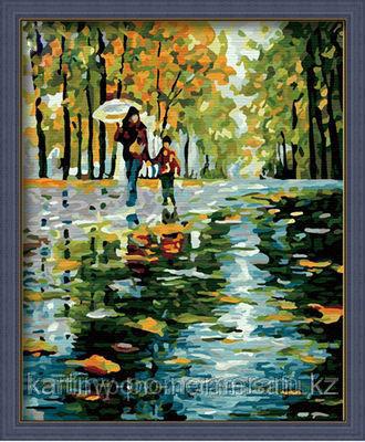 """Картины раскраски по цифрам (по номерам)  """"Осенний дождик"""""""