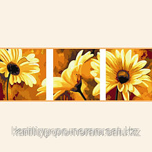 "Картина раскраска по цифрам (по номерам), Алматы - ""Герберы"", триптих"