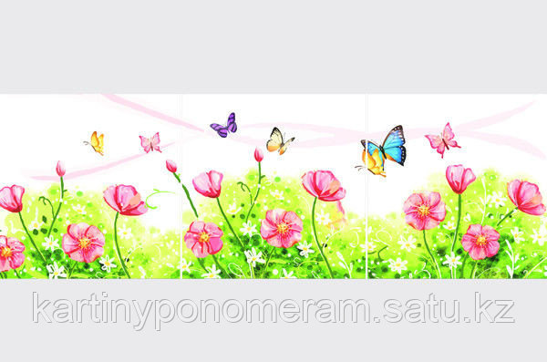 "Картина раскраска по цифрам (по номерам)""Весенний луг"", триптих"