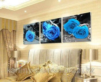"""Картина раскраска по цифрам (по номерам)""""Голубые розы"""", триптих"""