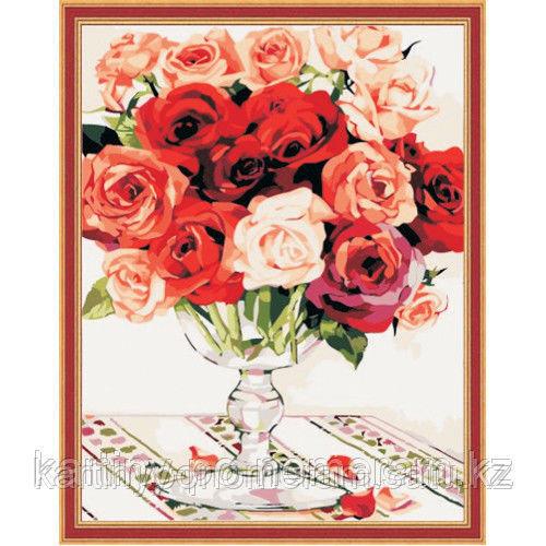 """Картины-раскраски по номерам  - Алматы,  """"Букет для любимой"""""""