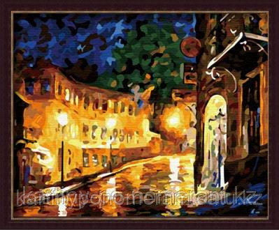 """Картины по номерам  - Алматы, """"Вечерние фонари. Л.Афремов"""""""