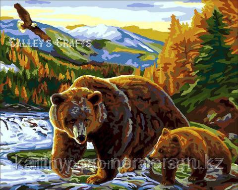 """Картины по номерам  - Алматы, """"Медведица с медвежонком"""""""