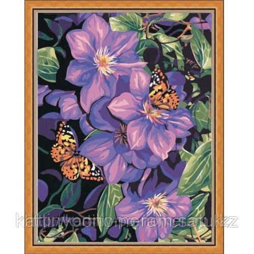 """Картины по номерам  - Алматы, """"Бабочки в цветах"""""""