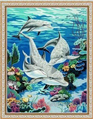 "Картины по номерам  - Алматы,  ""Четыре дельфина"""