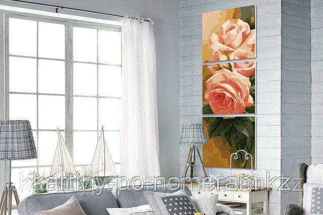 """Картина раскраска по цифрам (по номерам)  - Алматы, """"Нежные розы"""", триптих"""