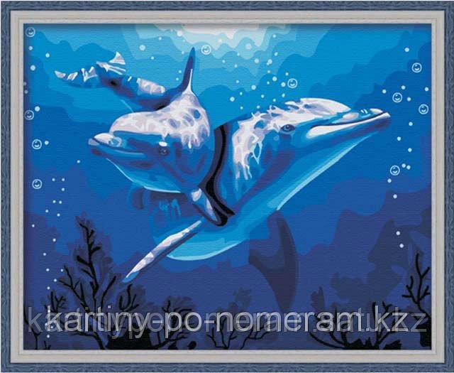 """Картины раскраски по цифрам (по номерам) """"Два дельфина"""""""