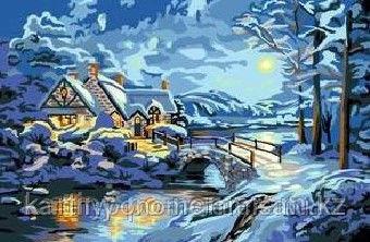 "Картины по номерам - Алматы, ""Лунная зимняя ночь"""