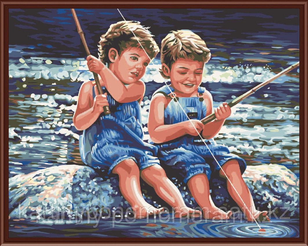 """Картина по номерам """"Рыбаки-затейники"""""""