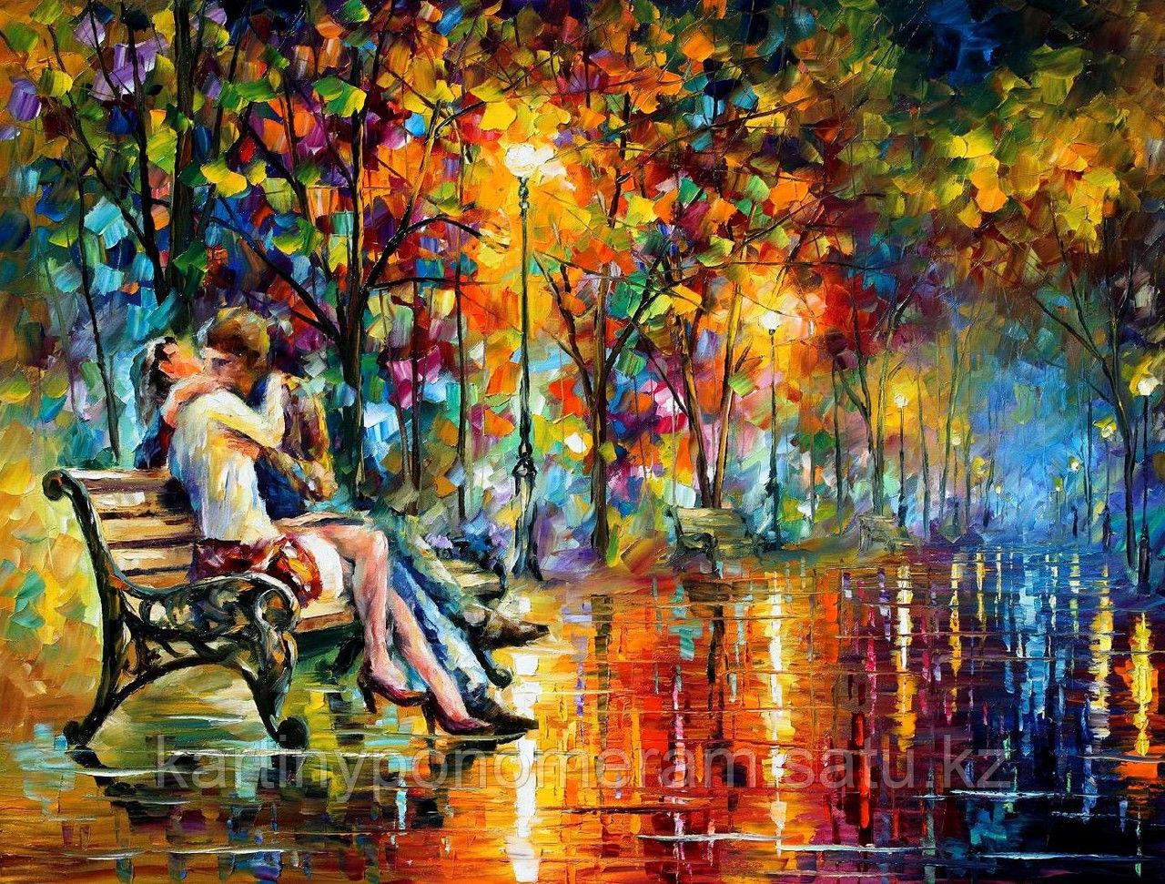 """Картины по номерам  - Алматы, """"Поцелуй на лавочке. Л.Афремов"""""""