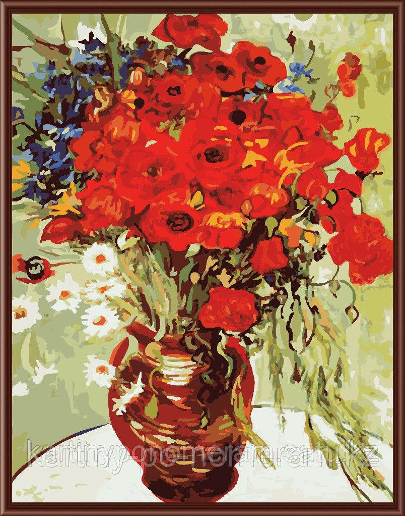 """Картины по номерам  - Алматы,   """"Красные маки и ромашки. Ван Гог"""""""