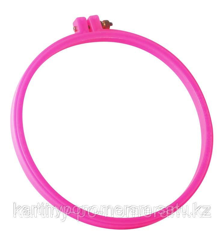 Пяльцы пластиковые RY4244, диаметр 21 cм, цвет:  розовый