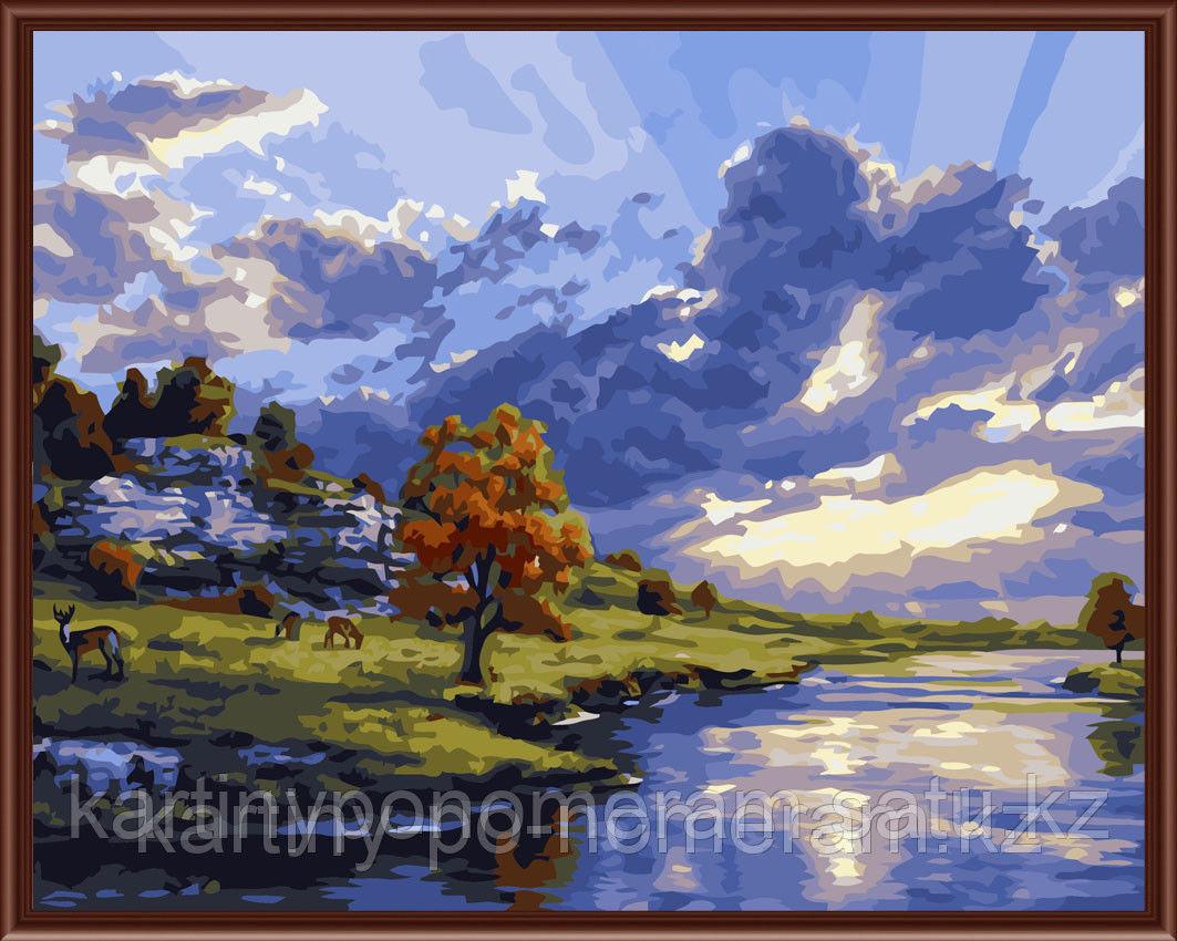 """Картины по номерам  - Алматы, """"Олени у осеннего дерева"""""""