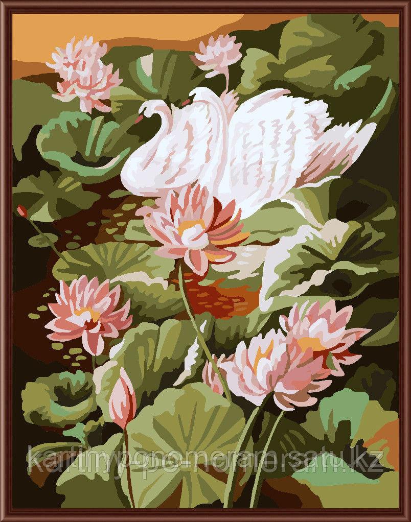 """Картины по номерам  - Алматы, """"Лебеди в лотосах"""""""