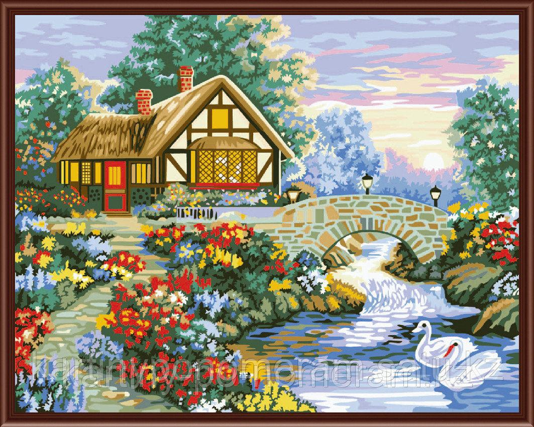 """Картины по номерам  - Алматы, """"Лебеди у моста"""""""