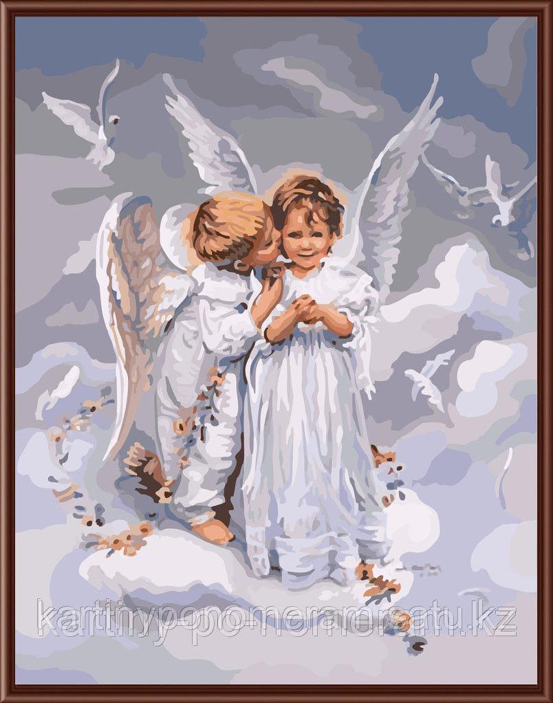 "Картины по номерам  - Алматы,  ""Ангелы с голубями"""