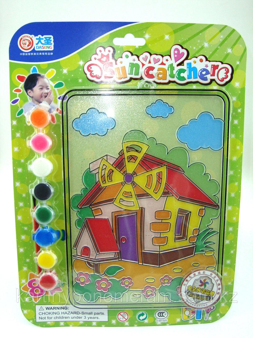 Витражные картины-раскраски для детей , Мельница 24x20