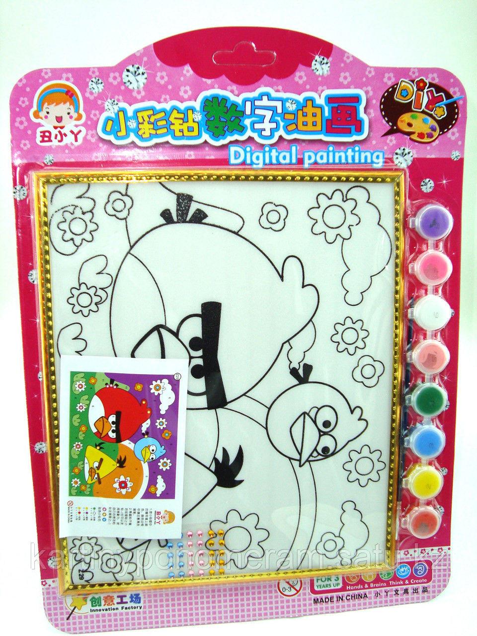 Картины-раскраски для детей , Angry birds 24x20