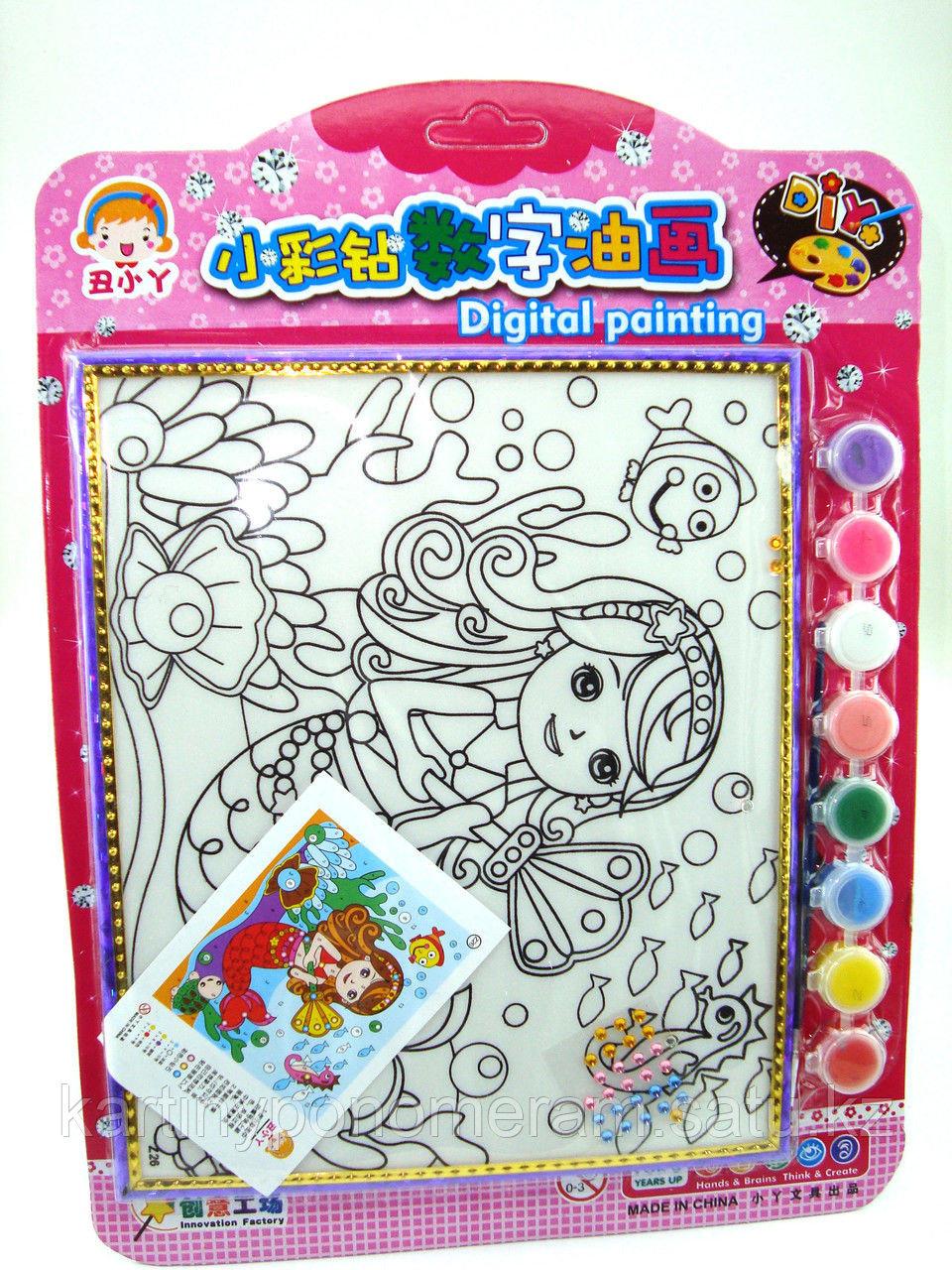 Картины-раскраски для детей , Русалка 24x20