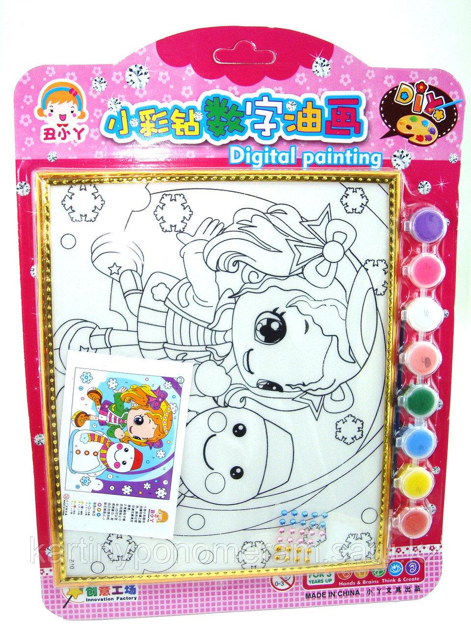 Картины-раскраски для детей , Девочка и снеговичок 24x20