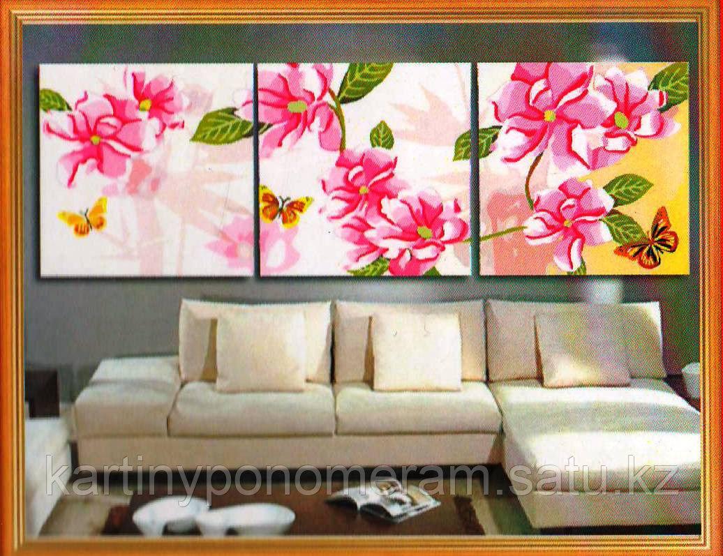 "Картина по номерам ""Розовый климатис"", триптих"