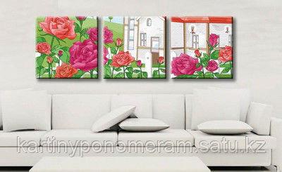 """Картина по номерам """"Дом в розовом саду"""", триптих"""