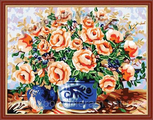 """Картина по номерам - """"Розы в синей вазе"""""""