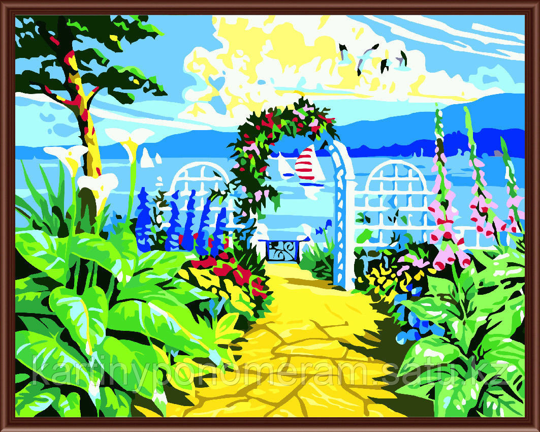 "Картина по номерам - ""Цветник у моря"""