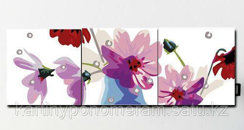 "Картина по номерам ""Цветы космеи"", триптих"