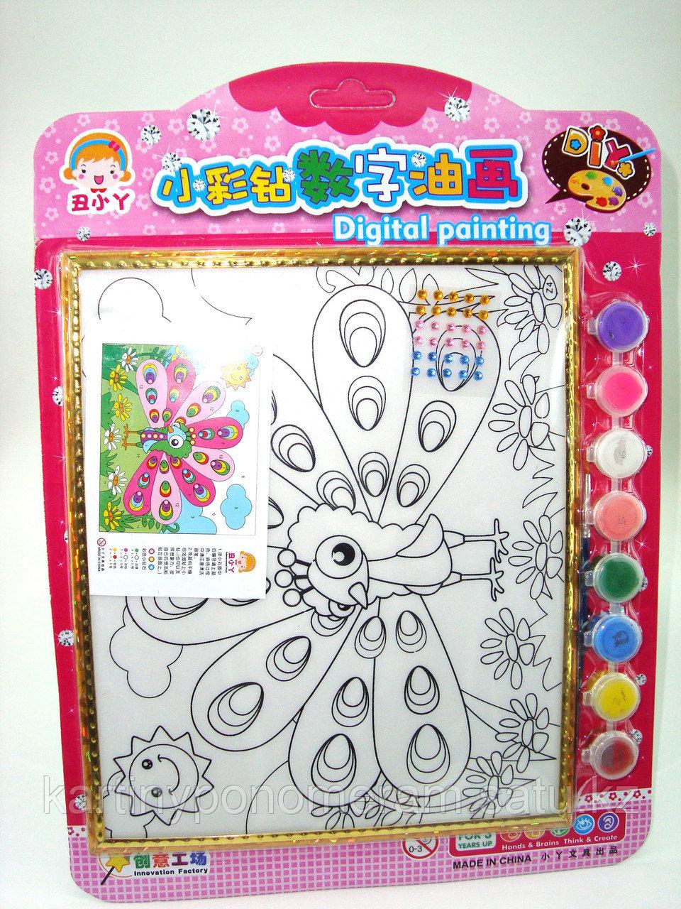 Картины-раскраски для детей , Павлин 24x20