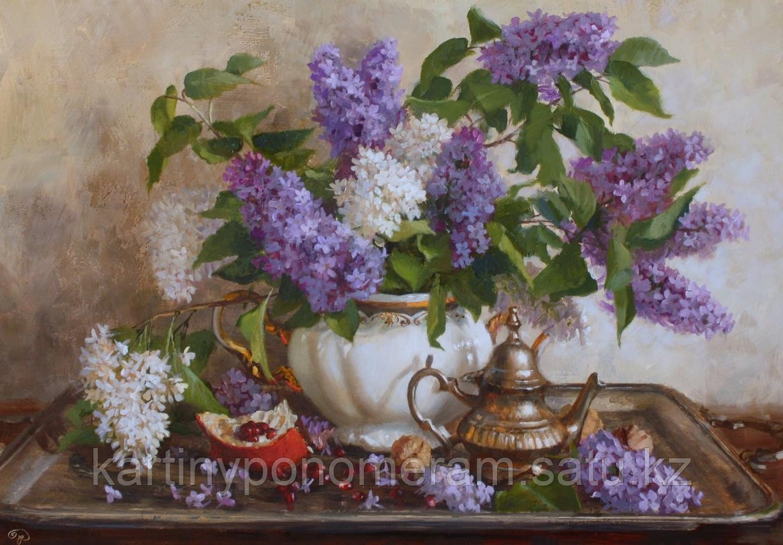 """Картина по номерам """"Сирень в белой вазе.В.Жданов"""""""