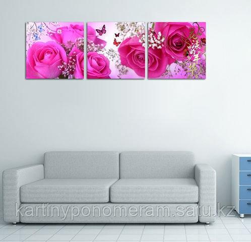 """Картина по номерам """"Бабочки в розах"""", триптих"""