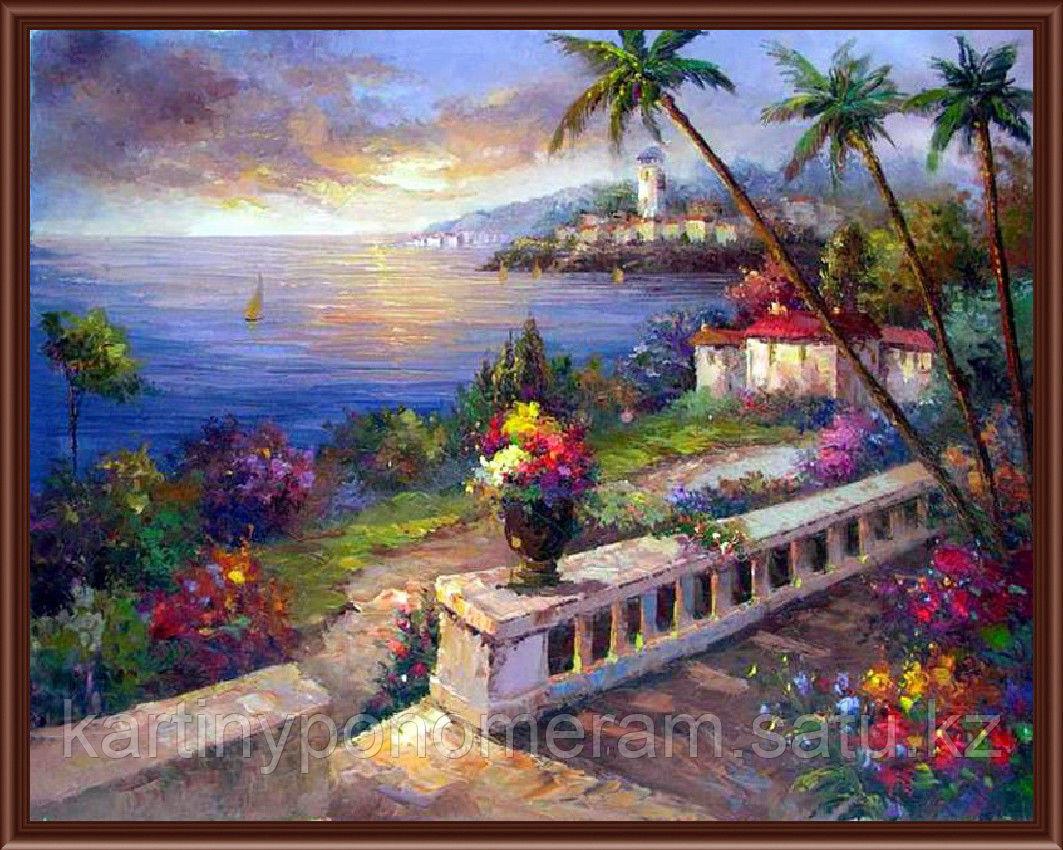 """Картина по номерам """"Балкон с цветами"""""""