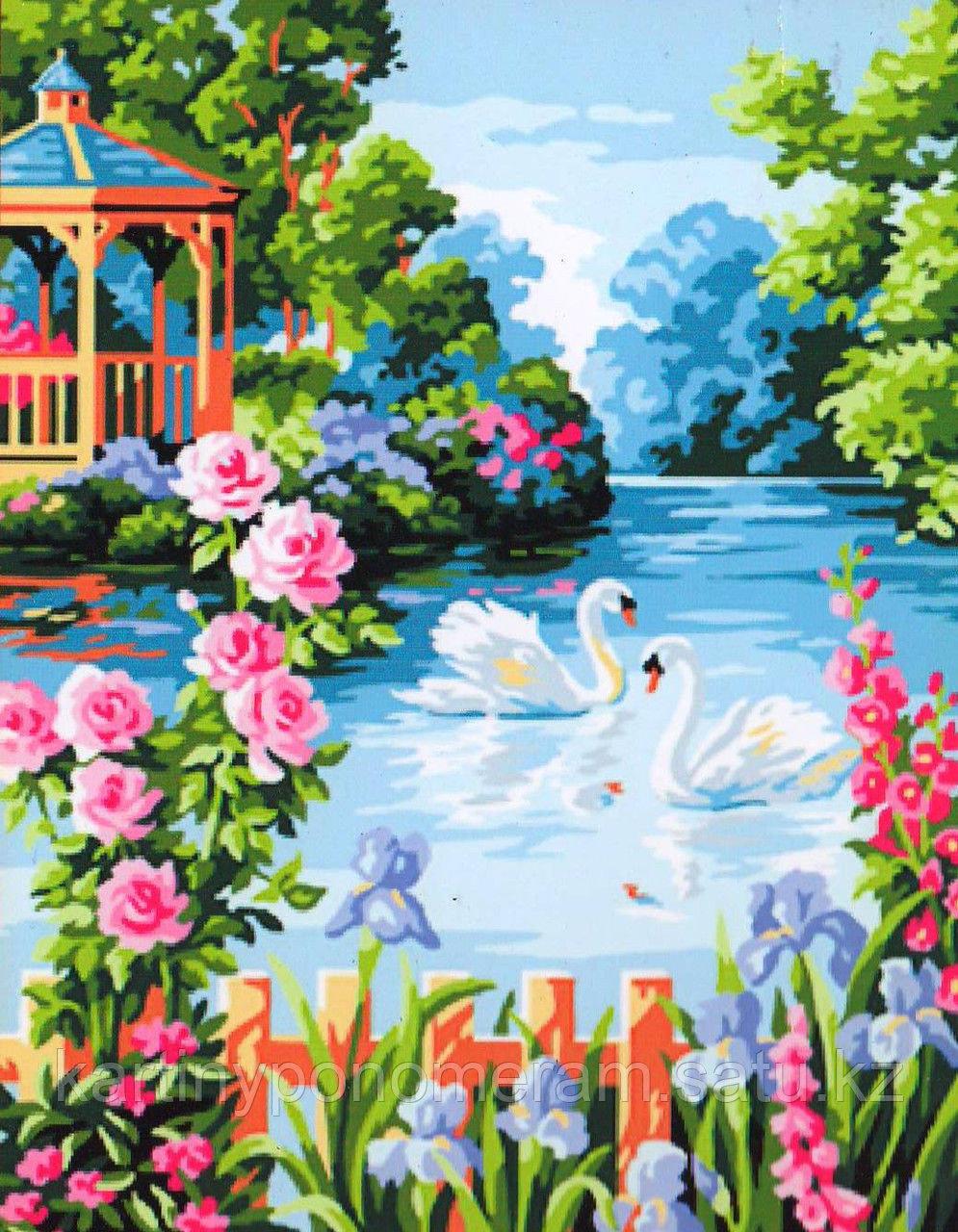 """Картина по номерам """"Лебеди в цветущем саду"""""""