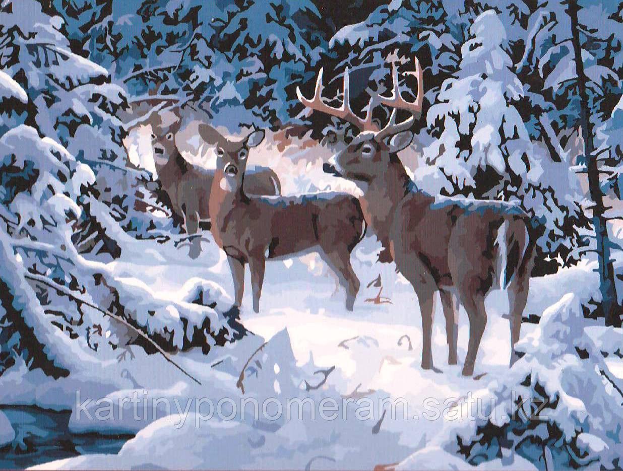 """Картина по номерам """"Олени в зимнем лесу"""""""