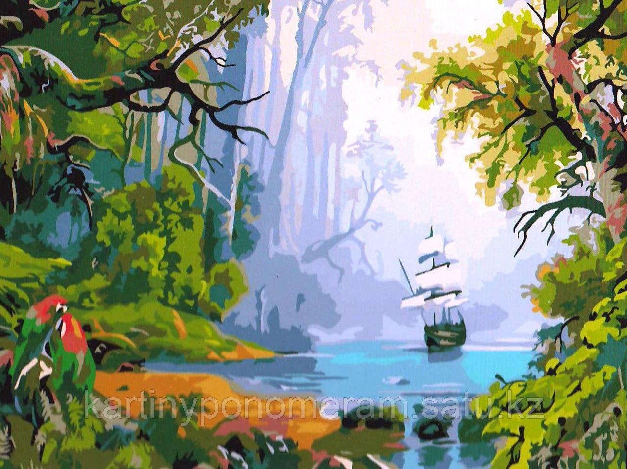 """Картина по номерам """"Корабль в тропиках"""""""
