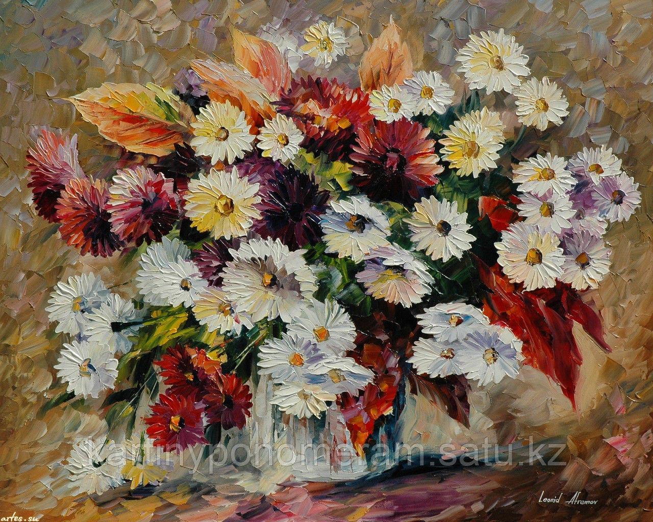 """Картина по номерам """"Сентябрины и хризантемы. Л.Афремов"""""""