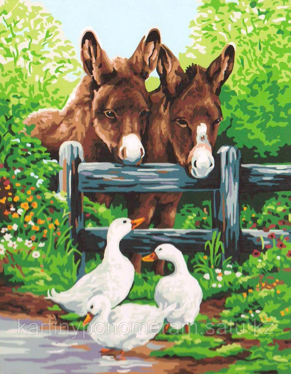 "Картина по номерам ""Ослики и утки"""