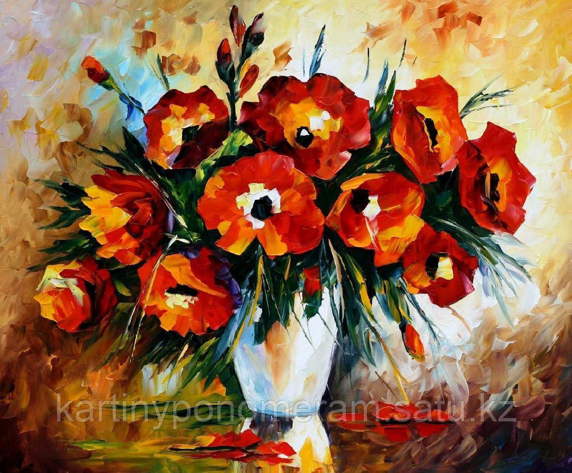 """Картина по номерам """"Красные цветы. Л.Афремов"""""""